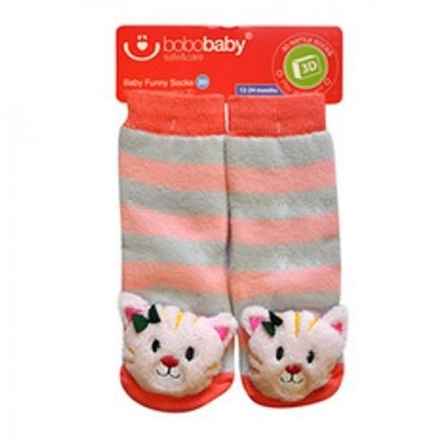 BOBO BABY Detské protišmykové ponožky 3D s hrkálkou - Mačička, marhulová - 12/24měsíců
