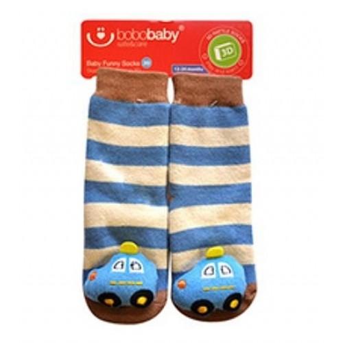 BOBO BABY Detské protišmykové ponožky 3D s hrkálkou - Autíčko, modrá - 12/24měsíců
