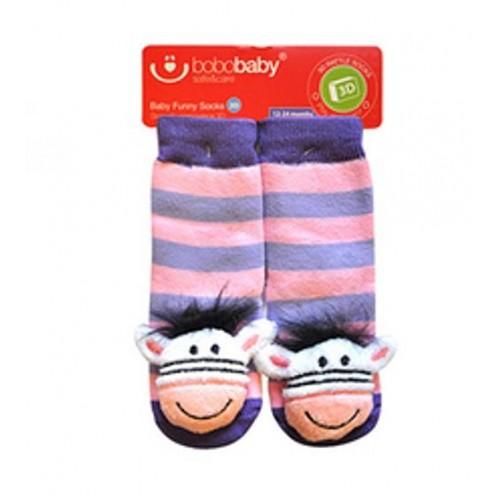 BOBO BABY Detské protišmykové ponožky 3D s hrkálkou - Zebra, fialová - 12/24měsíců