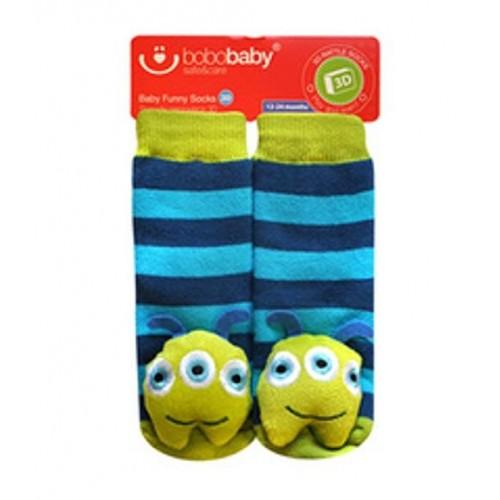 BOBO BABY Detské protišmykové ponožky 3D s hrkálkou - Príšerka, tyrkysová - 12/24měsíců