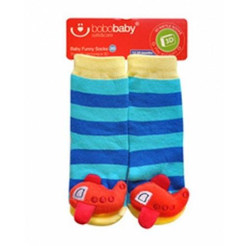 BOBO BABY Detské protišmykové ponožky 3D s hrkálkou - Letadlo, modrá - 12/24měsíců