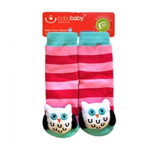 BOBO BABY Detské protišmykové ponožky 3D s hrkálkou - Sovička, růžová - 12/24měsíců