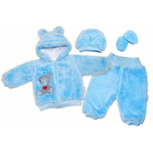 Baby Nellys Chlupáčkový komplet Welsoft Teddy vel. 86 - modrý - 86 (12-18m)