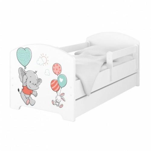Babyboo Detská posteľ 140 x 70 cm - Slon - 140x70