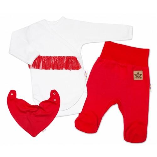 Baby Nellys 3-dielna sada Body dl. rukáv s tutu, šatka, polodupačky, červená, biela - 50 (0-1m)