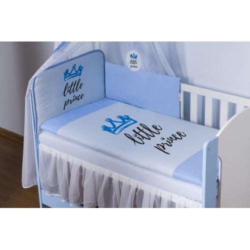 Baby Nellys 4-dielna sada mantinel s obliečkami Little Prince + nebesá, modrá - 120x90