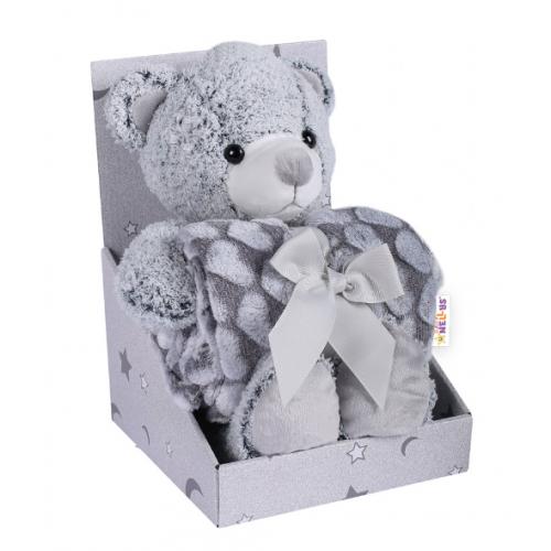 Baby Nellys Detská sada deka + plyšová hračka Medvedík - sivá