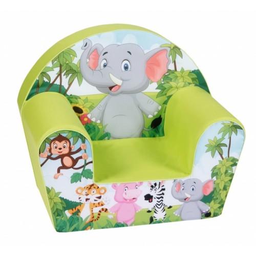 Delsit Detské kresielko, pohovka - Slon v safari, zelená