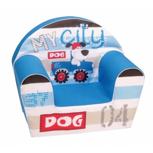 Delsit Detské kresielko, pohovka - MY DOG CITY, modrá