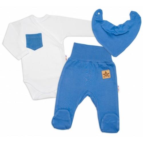 Baby Nellys 3-dielna sada Body dl. rukáv s vreckom, šatka, polodupačky, modrá, veľ. 56 - 56 (1-2m)