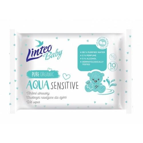 Vlhčené obrúsky LINTEO BABY Aqua sensitive, 10 ks v balení