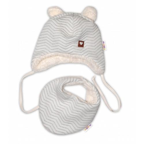 Baby Nellys Zimná kožušková čiapka s šatkou LOVE, šedý vzor, veĺ. 86 - 86 (12-18m)