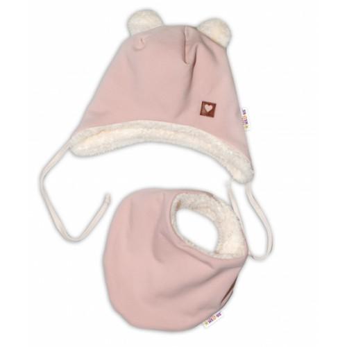 Baby Nellys Zimná kožušková čiapka s šatkou LOVE, pudrově ružová, veľ. 46/48 cm - 46/48 čepičky obvod