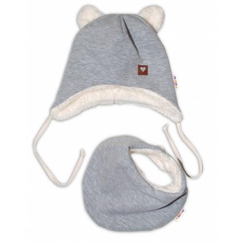 Baby Nellys Zimná kožušková čiapka s šatkou LOVE, šedá, veľ. 86 - 86 (12-18m)