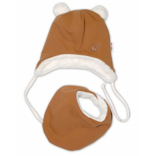 Baby Nellys Zimná kožušková čiapka s šatkou LOVE, medová horčica, veľ. 42/44 cm - 42/44 čepičky obvod
