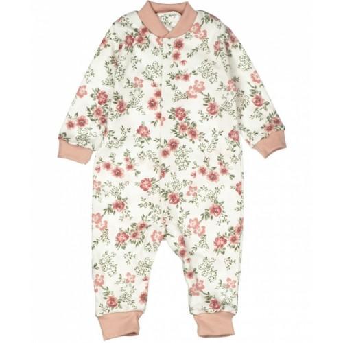 Baby Bavlnený overal bez šlapiek - ROSE,  pudrová, vel. 56 - 56 (1-2m)