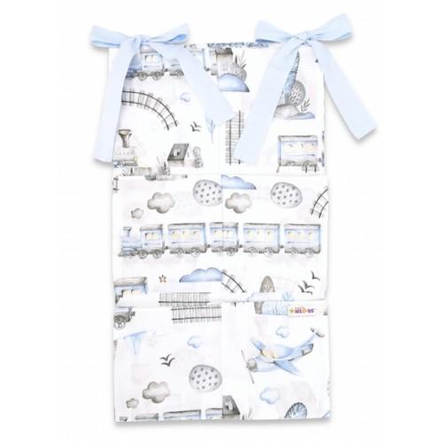 Bavlnený vreckár na postieľku Baby Nellys 6 vreciek, Vláčik, modrá