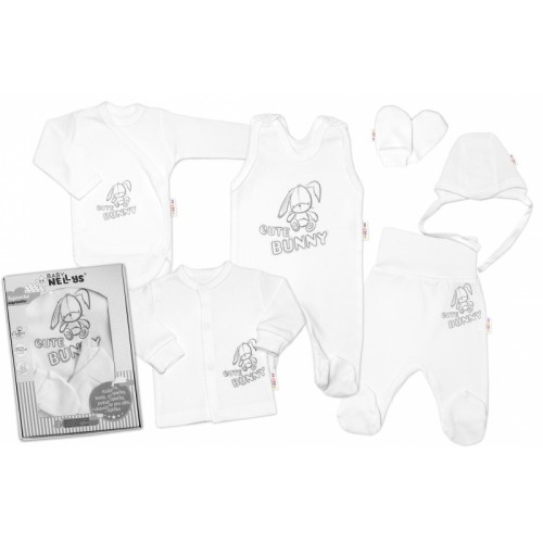 Baby Nellys Veľká sada do pôrodnice CUTE BUNNY, 6-dielna - biela, vel. 56 - 56 (1-2m)