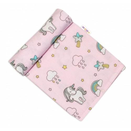 Baby Nellys Flanelová plienka, 70x80 cm - Jednhorožec, ružový