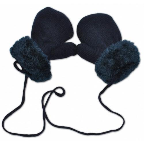 YO !  Zimné detské rukavice s kožušinou - šnúrkou YO - granát/granátová kožušina - 12cm rukavičky