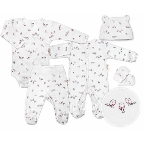 Baby Nellys 5-dielna súpravička do pôrodnice Vtáčiky - ecru/ružová - 50 (0-1m)