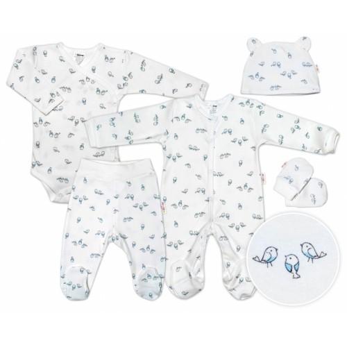 Baby Nellys 5-dielna súpravička do pôrodnice Vtáčiky - ecru/modrá, veľ. 56 - 56 (1-2m)