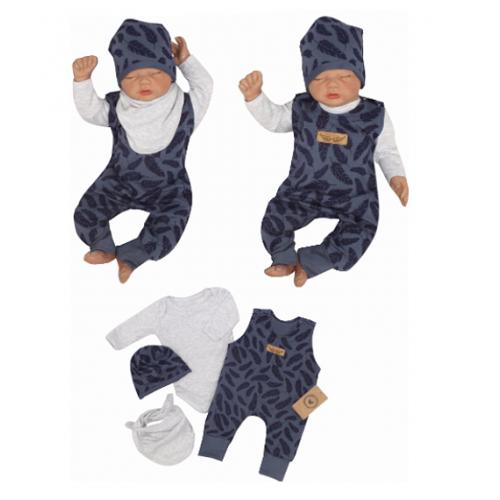 Z & Z 4-dielna súpravička body, laclové nohavice, čiapočka + šatka - modrá, veľ. 74 - 74 (6-9m)