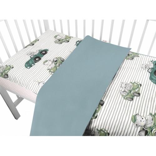 2-dielne bavlnené obliečky Baby Nellys, Baby Car - zelená - 120x90