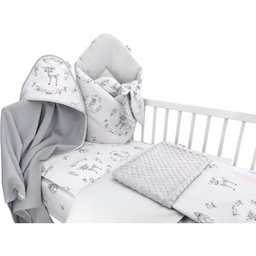 Baby Nellys 6-dielna výhod. súprava pre bábätko s darčekom,120 x 90, Koloušek ružový/sivý - 120x90