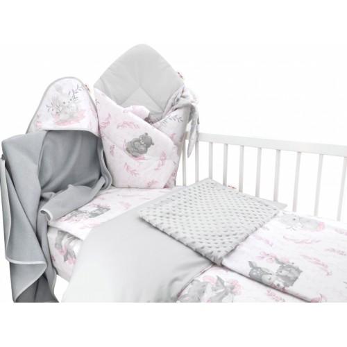 Baby Nellys 6-dielna výhod. súprava pre bábätko s darčekom,135 x 100, LULU, růžová,šedá  - 135x100