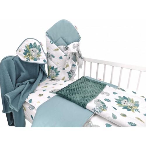 Baby Nellys 6-dielna výhod. súprava pre bábätko,135 x 100, Tropical Koala - zelená, biela - 135x100