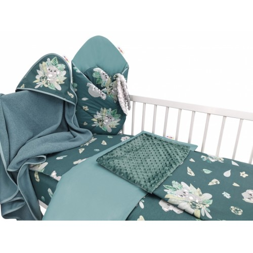 Baby Nellys 6-dielna výhod. súprava pre bábätko,135 x 100, Tropical Koala - zelená - 135x100