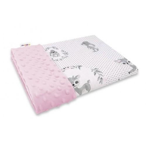 Baby Nellys Bavlnená deka s Minky 100x75cm, Koloušek, růžová