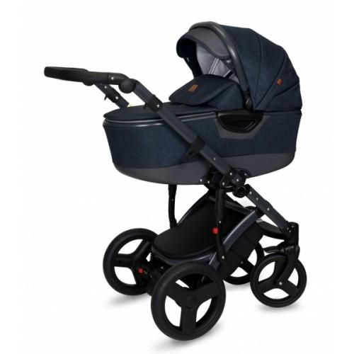Kočík Coto Baby 2 v 1 QUARA Eco 2021 - Len Navy Blue Dark Grey