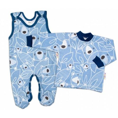 Baby Nellys 2 - dielna sada, bavlnené dupačky s košieľkou Medvedík, modrá - 50 (0-1m)