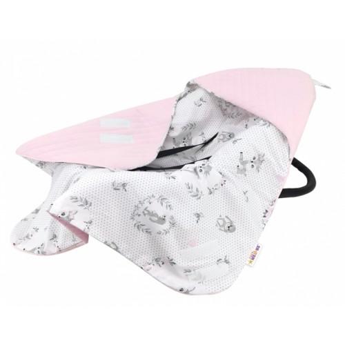 Baby Nellys Oteplena zavinovacia deka s kapucňou Velvet, 90 x 90 cm, Koloušek - ružová