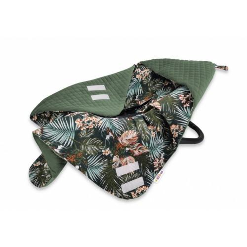 Baby Nellys Oteplena zavinovacia deka s kapucňou Velvet, 90 x 90 cm, Papoušek - zelená