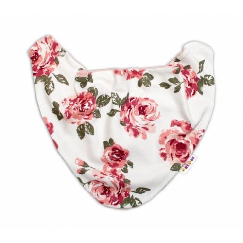 Baby Nellys Detský šatka na krk Ruže, pudrový/ecru - univerzální