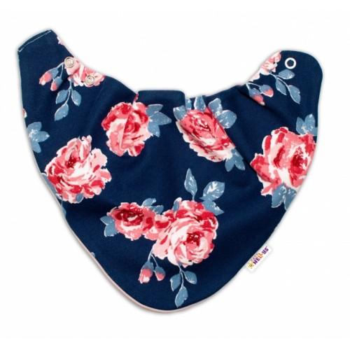 Baby Nellys Detský šatka na krk Ruže, pudrový/granát - univerzální