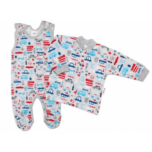 Baby Nellys 2 - dielna sada, bavlnené dupačky s košieľkou Auta, sivá - 50 (0-1m)