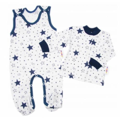 Baby Nellys 2 - dielna sada, bavlnené dupačky s košieľkou Galaxia, biela/granát - 50 (0-1m)