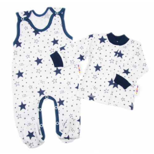 Baby Nellys 2 - dielna sada, bavlnené dupačky s košieľkou Galaxia, biela/granát, veľ. 62 - 62 (2-3m)