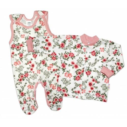 Baby Nellys 2 - dielna sada, bavlnené dupačky s košieľkou Ružičky, pudrová/ecru, veľ. 62 - 62 (2-3m)