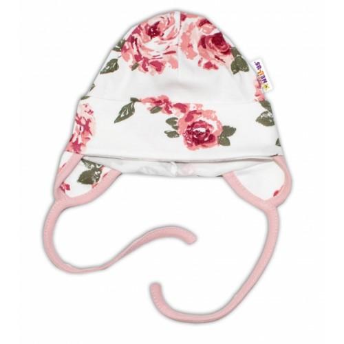 Baby Bavlnená čiapočka s uškami na zaväzovanie - Ruže, pudrová/ecru - 50/56