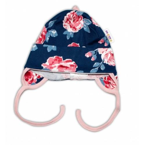 Baby Bavlnená čiapočka s uškami na zaväzovanie - Ruže, pudrová/granát - 50-56 (0-2m)