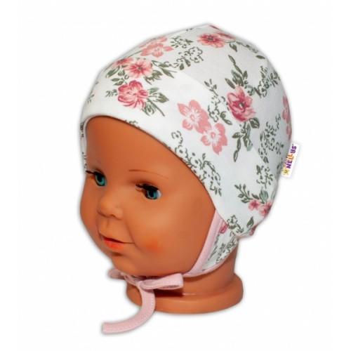 Baby Bavlnená čiapočka s uškami na zaväzovanie - Ruže, pudrová/ecru, veľ. 62/68 - 62-68 (3-6m)