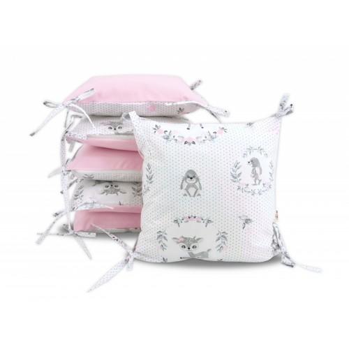 Vankúšikový mantinel Baby Nellys, Koloušek, velvet + bavlna - ružová