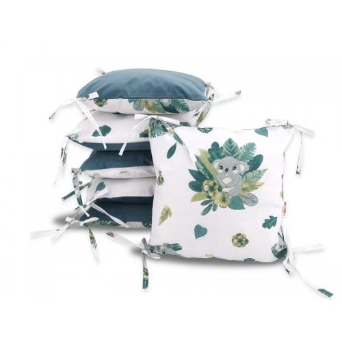 Vankúšikový mantinel Baby Nellys, Tropical Koala, velvet + bavlna - zelená, bílá
