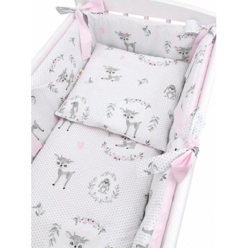Baby Nellys 6-dielna súprava do kolísky Koloušek, ružová - 90x40