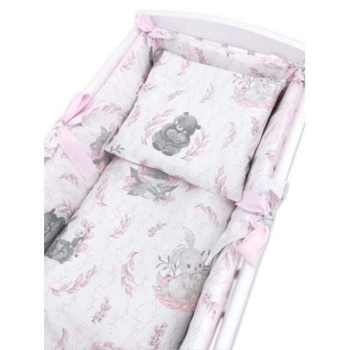 Baby Nellys 6-dielna súprava do kolísky LULU natural, růžová - 90x40